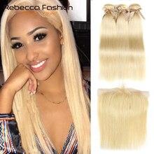 Rebecca 613 sarışın demetleri ile Frontal İnsan saç demetleri sarışın malezya düz saç 3 demetleri ile Frontal kapatma