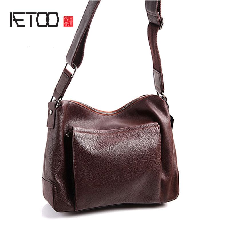 AETOO Pure leather original Europe and America Japan and South Korea fashion casual retro men\'s shoulder diagonal bag leather Ko
