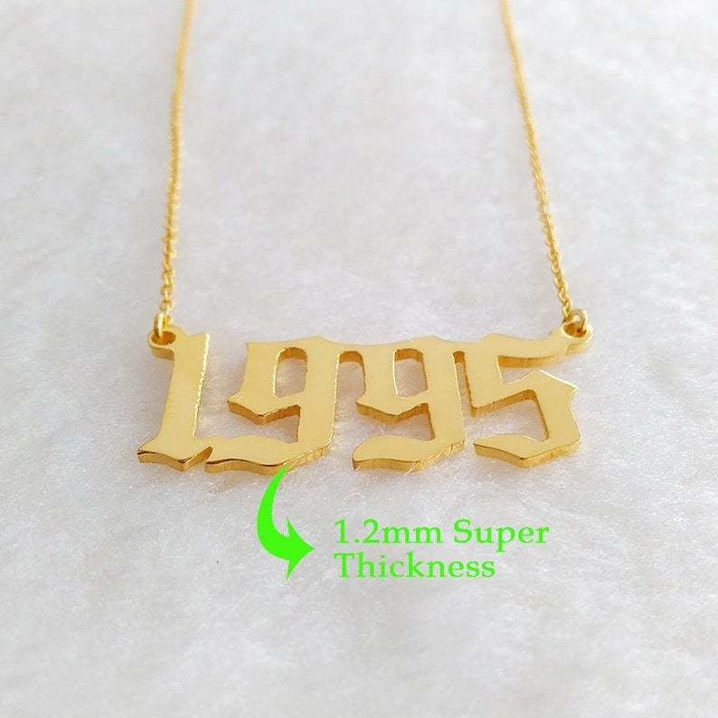 1985-2019 Birth Year Necklace Gothic Date Necklace Custom Numeral Jewelry Stainless Steel 1999 2000 2001 2002 2003 Bijoux Femme