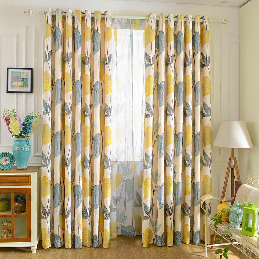 American Rural Leaves Curtains for Living Dining Room Bedroom Chenille Finished  Blue Green Leaves Finished Curtains