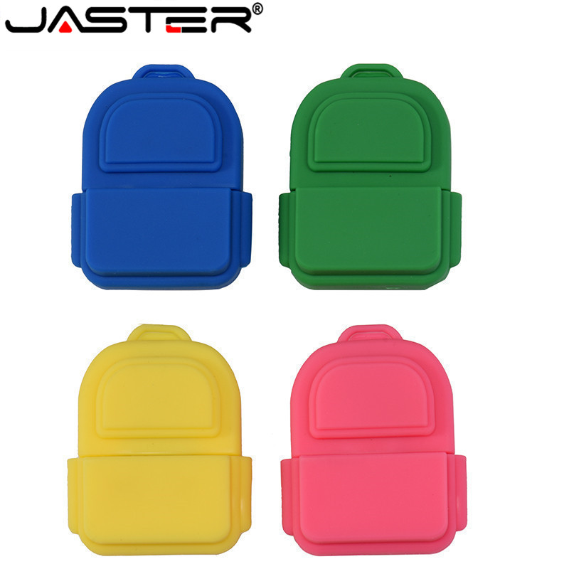 JASTER 4 Colour Beautiful School Bag USB Flash Drive 4GB 8GB 16GB 32GB 64GB Pendrives USB2.0 Flash Memory Stick Backpack Gift