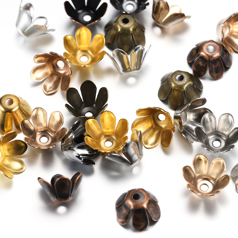 50pcs/lot Alloy Beads Caps Silver Gold Plated Flowers Filigree Bead Charms Findings for Diy Jewelry Accessories