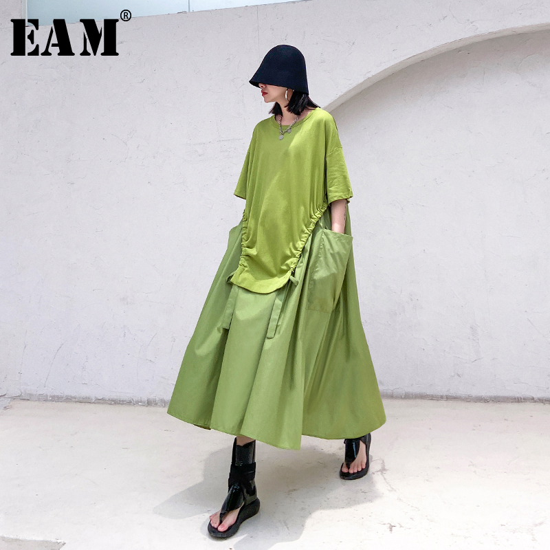 [EAM] Women Green Big Pocket Drawstring Big Size Dress New Round Neck Half Sleeve Loose Fit Fashion Spring Summer 2020 1T168
