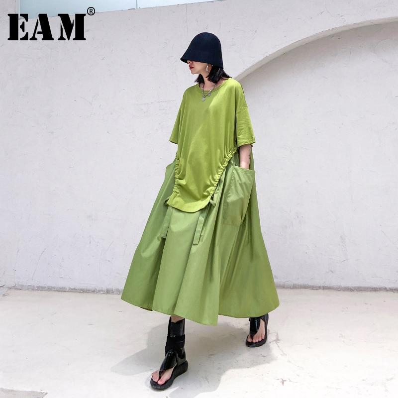 [EAM] Women Green Big Pocket Drawstring Big Size Dress New Round Neck Half Sleeve Loose Fit Fashion Spring Summer 2020 1T168