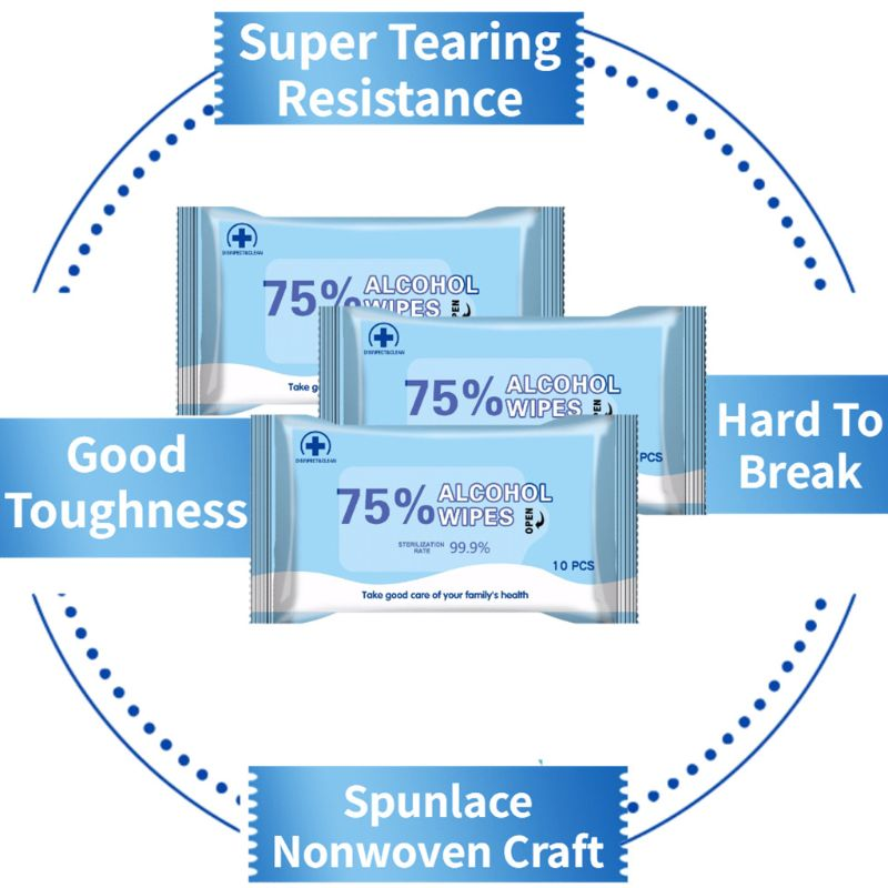 10 Pcs 75% Alcohol Cotton Wipes Disposable Cleaning Disinfection Wipes Achieve 99.9% Bacteriostatic Rate Daily Care Products