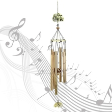 Retro Copper Wind Chimes Metal 6 Tube Rustproof Church Blessing Chinese Style Home Hanging Ornaments Decor