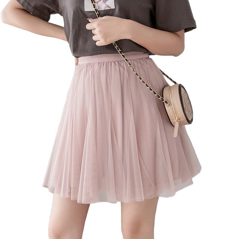 2019 New Vintage Pleated Mini Skirts Womens Korean Tulle Mesh Skirt High Waist Pink White A Line Short Skirt Spring Summer Falda