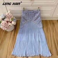 LINGHAN Fashion Weave blue Maxi Skirt Elegant Beading Big swing Pleated Party Long Skirts Designer Spring Summer New