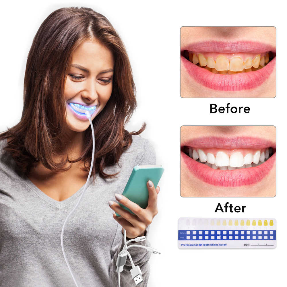 Hailicare Teeth Whitening Kit With Led Light Cold Blue Light Tooth