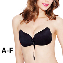 Women Invisible Bra Self Adhesive Strapless Bandage Blackless Solid Bra Stick Gel Silicone Push Up women #8217 s underwear cheap ECMLN Seamless Spandex Rayon CN(Origin) NONE everyday Other Bras Wire Free O-BR02-W Three Quarters(3 4 Cup)