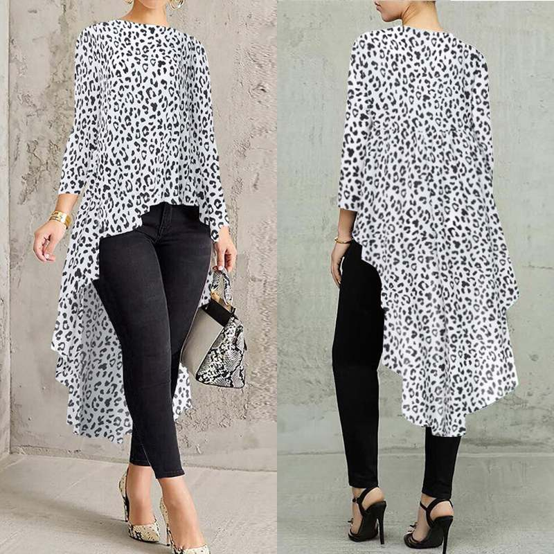 Women's Leopard Printed Blouse ZANZEA 2019 Asymmetrical Shirt Stylish Casual Long Sleeve Tops Female O Neck Blusa Oversize Tunic
