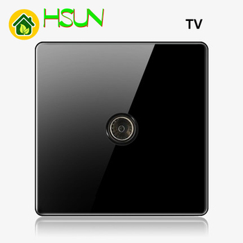 High-grade 1 2 3 4 gang 1 2 way big panel black switch socket Type 86 Wall 2.5D Cambered Mirror Toughened glass Computer TV 10