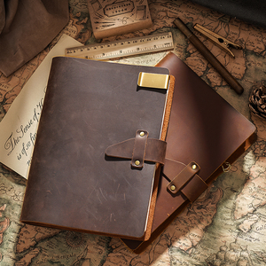 Image 5 - High Quality Rustic Genuine Leather Rings Notebook A5 Spiral Diary Brass Binder Journal Sketchbook Agenda Planner Stationery