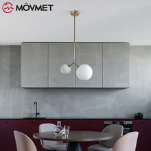 Modern LED Pendant Lamps With Round Glass BalI Dining E27 Pendant Lamps Iron Metal Light Fixtures Decorative Restaurant Lights