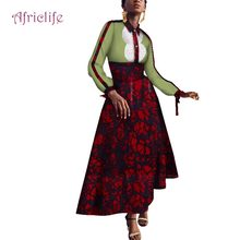 2019 African Dresses for Women Long Sleeve Shirt Dashiki Party Neck Fashion WY4125