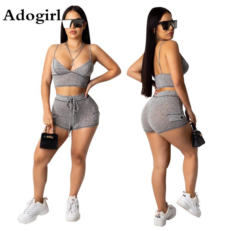 Women/'s Fashion Casual Vest Crop Top And Short Pants Two Piece Tracksuit Set