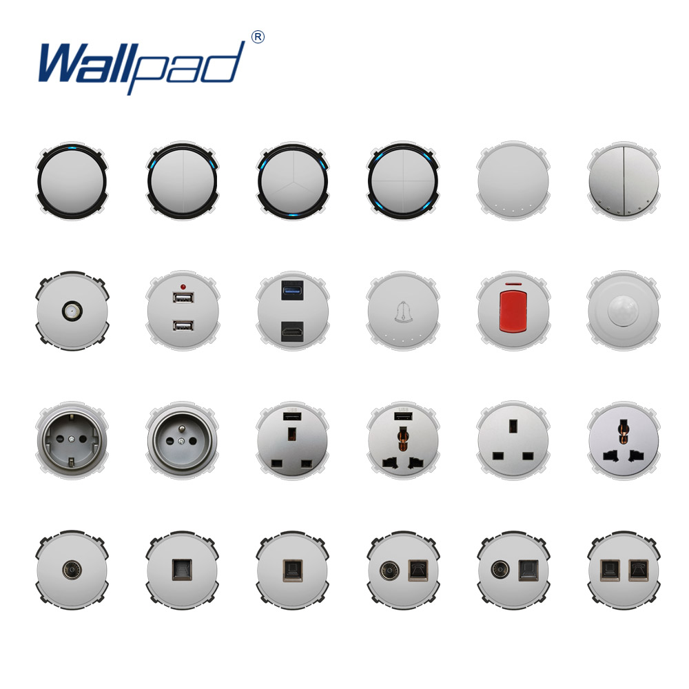 Wallpad Silver Wall Light Switch LED Indicator Wall Power Socket Electrical Outlet Function Key Only DIY Free Combination