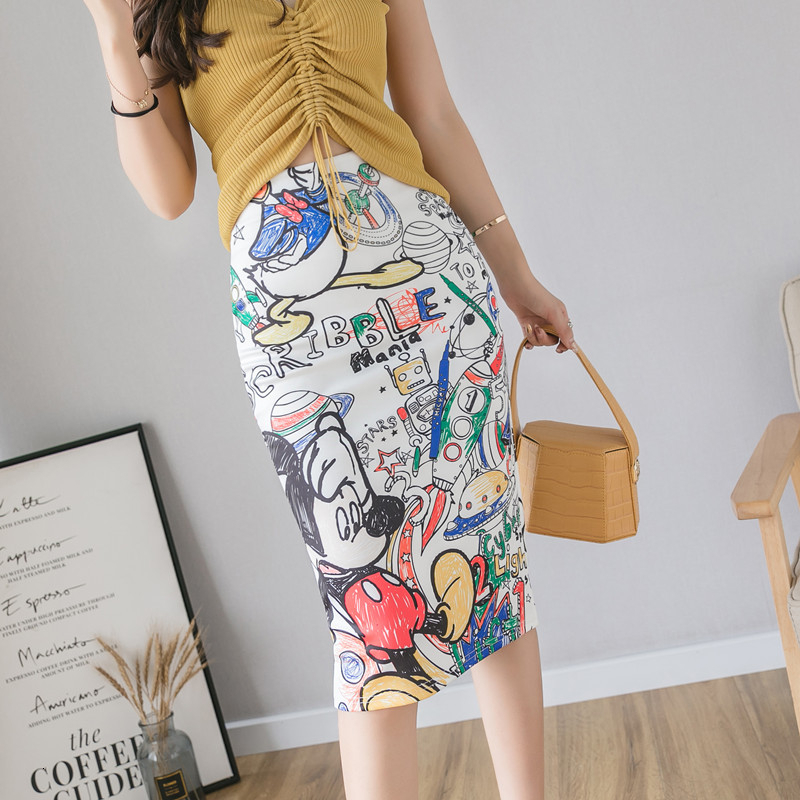 Women Pencil Skirt High Waist Cartoon Mickey Skirt Print Knee Length Slim Skirts Harajuku Street Kwaii Stretchy Pencil Skirt