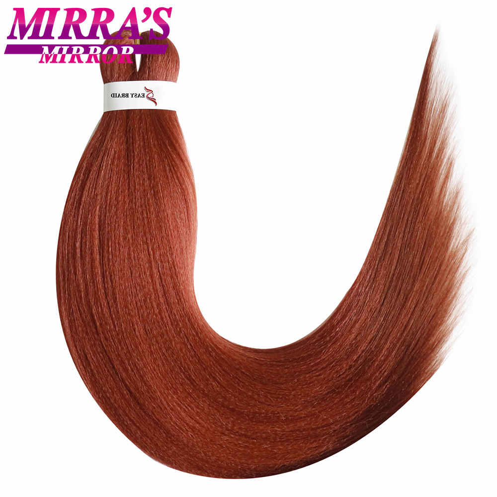 Mirra's Mirror Pre-Stretched Ombre Braiding Hair Extensions Crochet Easy Jumbo Braids Hair Synthetic Straight Yaki Hair Two Tone