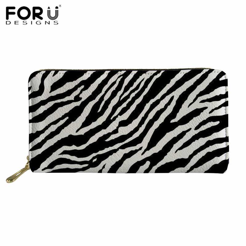 FORUDESIGNS Women's Cellphone Purse Zebra Leather Wallet Stripe Coin Moneybag for Ladies Clutch Bags <font><b>Carteras</b></font> <font><b>Largas</b></font> de <font><b>Mujer</b></font> image