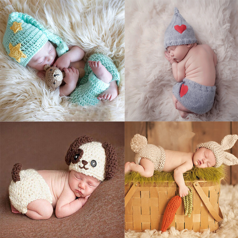 Baby Crochet Photography Props Newborn Photo Cool Boys Girls Costumes Infant Clothing Baby Hat Photography Props