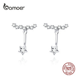 BAMOER Dazzling Star Ear Jackets 925 Sterling Silver Clear CZ Tiny Earrings for Women Health Fine Jewelry Gifts for Girl BSE175