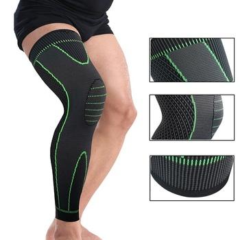 1pc rozciągliwa dzianinowa sportowe rękaw na nogę s do biegania kompresji rękaw na nogę wydłużyć ochraniacze na kolana bandaż nogawka do koszykówki rękaw na nogę tanie i dobre opinie Dla osób dorosłych CN (pochodzenie) Spandex 25 Polyester 33 Nylon 42 HJ028 100g M L XL Black Green