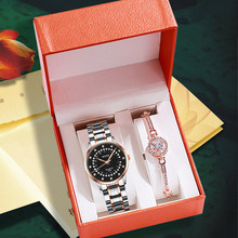 Luksusowy zegarek kwarcowy kobiety zegarki pudełko na bransoletki zestaw panie wodoodporne stalowe damskie zegarki kalendarzowe zegar na prezent Relogio Feminino