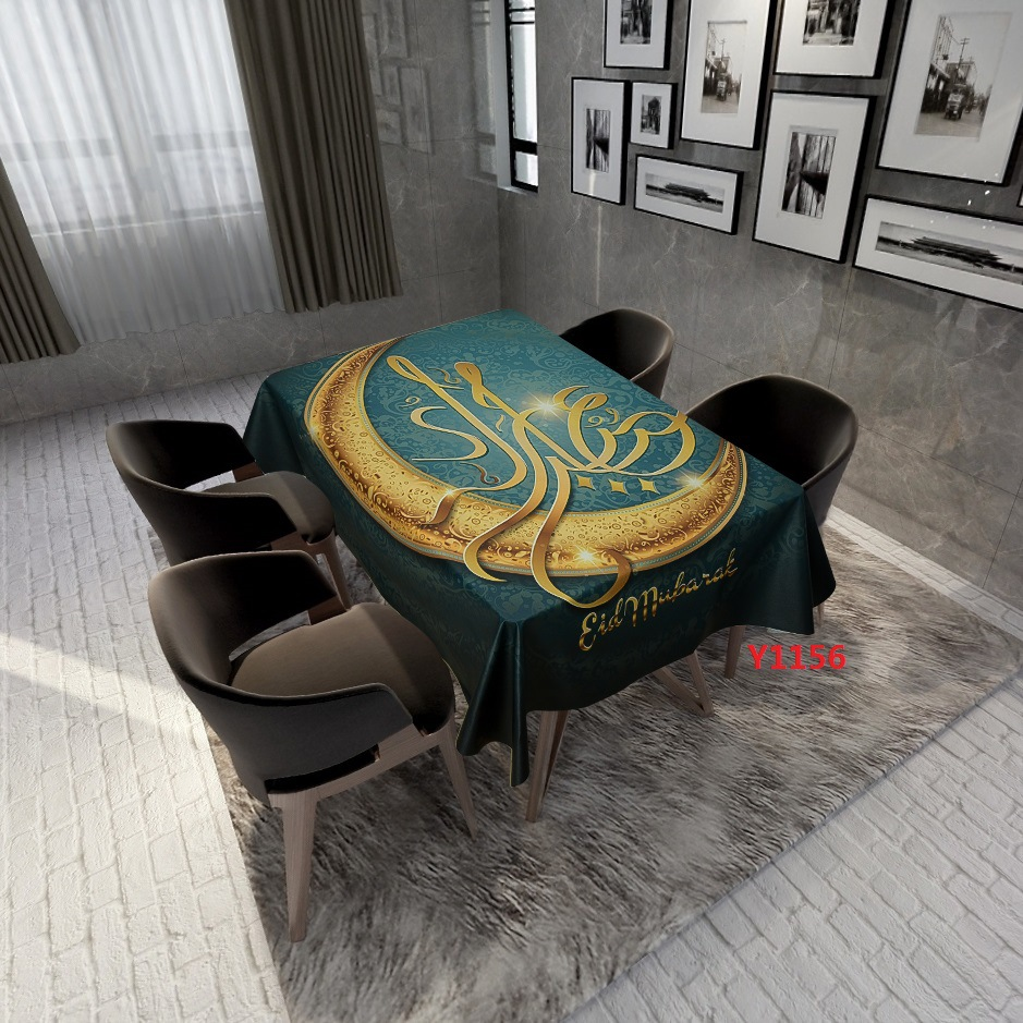 Waterproof and Anti-pollution Table Cloth National Wind Mandala Muslim Polyester Cotton Digital Printing Tablecloth Fabric