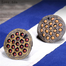 Yixing purple sand tea set pet ornaments boutique can grow tea sets withered lotus seed cover ceramic creative small ornaments