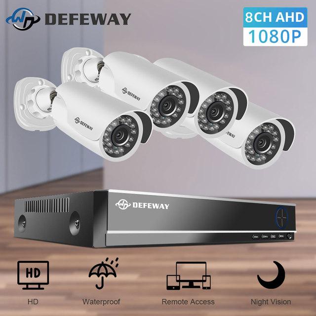 DEFEWAY Video Surveillance DVR Kit 8CH 1080P HD Security CCTV Camera System Outdoor 4pcs 2MP Bullet Camera Night Vision DVR Kit