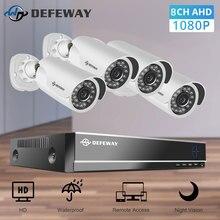DEFEWAY wideo zestaw DVR do monitoringu 8CH bezpieczeństwa 1080P HD System kamer CCTV na zewnątrz 4 sztuk 2MP kamera typu Bullet Night Vision zestaw DVR