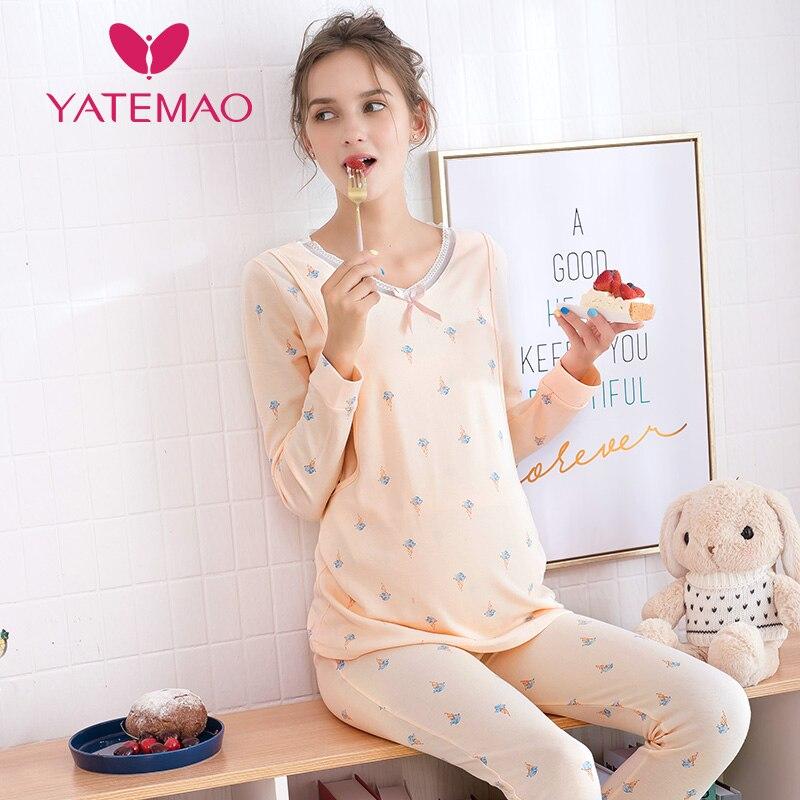YATEMAO Nursing Clothes Maternity Pajamas Cotton Pregnant Pajama Set Maternity Long Sleeve Tops&Pants Winter Sleepwear Nightgown
