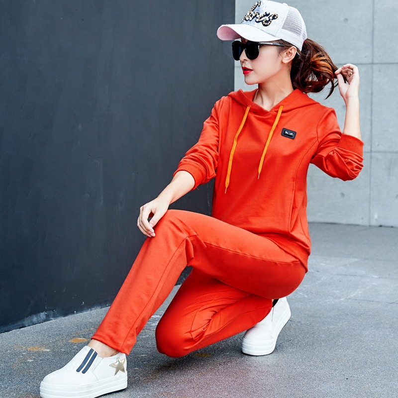 Spring And Autumn Long Sleeve Kindergarten Teachers Kindergarten Suit Teacher Work Clothes Women's Two-Piece Set Slim Fit Hooded