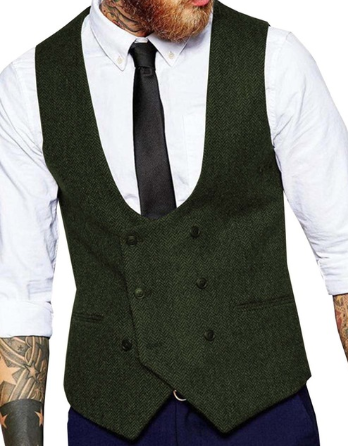 Men's Double-breasted Vest Slim Fit Tweed Vest Men Casual  Herringbone Pattern Waistcoat Groomsmen  Business Vest Waistcoat