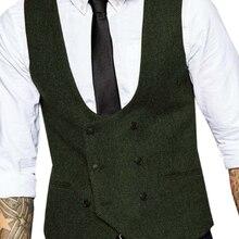 Mens Double-breasted Vest slim fit Tweed vest Men casual  Herringbone