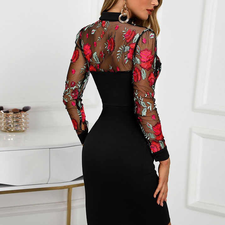 2019 Hot Selling Embroidered Tight-Fit Long Sleeve Sexy Dress