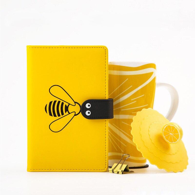 Kawaii Bullet Journal A6 DIY Agenda Weekly Monthly Planner Organizer Cute Bee Notebook Line Blank Grid Notebook School Note Book
