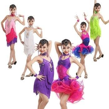 Girls Latin Dress Bubble Latin Skirt Colorful Dancing Dress Competitive Dance Wear Children ChaCha Wear Latin Dance Dress BL2773