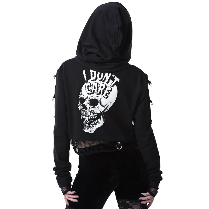 H75a1f8ede73c43a3aeb48a47ca8f3132B - InsGoth Women Sweatshirts Cropped Hoodies Gothic Skull Printed Black Loose Short Hoodies Mesh Patchwork Female Streetwear Hooded