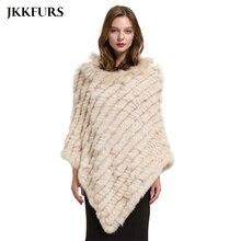 2019 女性のポンチョ本物のウサギの毛皮ニットショールアライグマの毛皮の襟品質大岬ファッションスタイル S1729