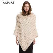 2019 Womens Poncho Real Rabbit Fur Knitted Shawl Raccoon Fur Collar Top Quality Large Cape Fashion Style S1729