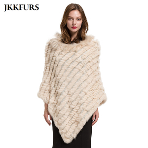 Image 1 - 2019 Womens Poncho Real Rabbit Fur Knitted Shawl Raccoon Fur Collar Top Quality Large Cape Fashion Style S1729