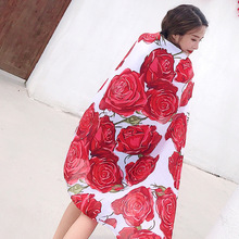 Women Red Floral Scarf Summer Spring Silk Shawl Ponchos and Capes Head Hijab Scarves Luxury Soft Blanket Wrap Long