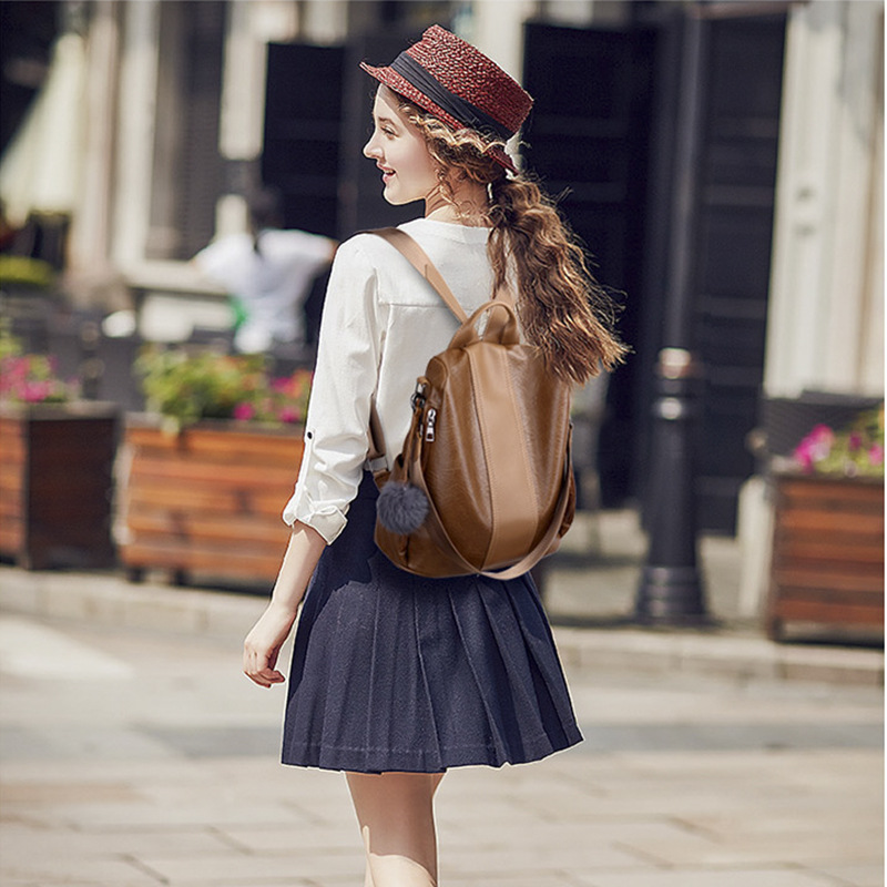 Image 5 - 2019 Women Leather Anti theft Backpacks High Quality Vintage Female Shoulder Bag Sac A Dos School Bags for Girls Bagpack Ladies-in Backpacks from Luggage & Bags