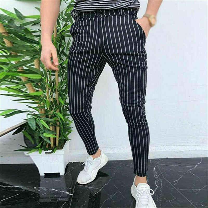 新メンズカジュアルパンツスリムフィットスキニービジネスフォーマルなスーツのドレスパンツスラックス
