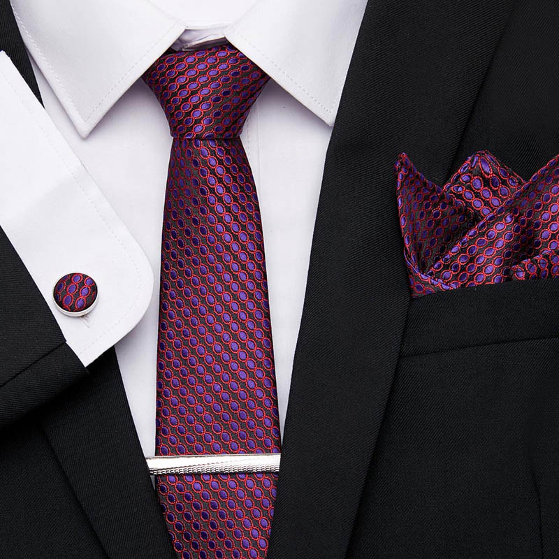 Wedding Men Red Purple Stripe Dot Lattice Neckties 7.5cm 100% Silk Handkerchief Tie Clip Cuffink Tie Set Men Classic Ties Formal