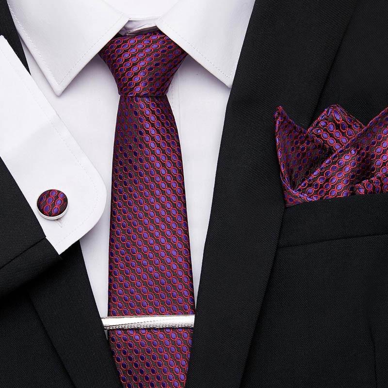 Wedding Men Red Purple Stripe Dot Lattice Neckties 7.5cm 100% Silk Handkerchief Tie Clip Cuffink Tie Set Men Classic Ties Formal