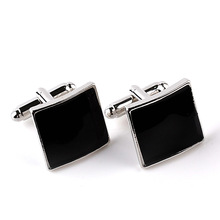 New Fashion Black Enamel Mens Shirt Cufflinks Square Buttons Metal Alloy Cuff Links For Business Gentleman Shirt Cuff Buttons