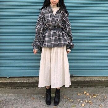 Chic Plaid Blouse Women Shirt Long Sleeve Elegant Ladies Casual Blouses Woollen Thick Autumn Winter Streetwear